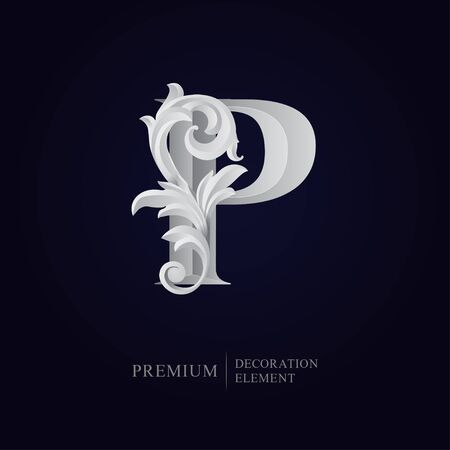 Elegant letter P with floral baroque ornament. Serif capital letter is surrounded with white decorations in 3D style. Exclusive colored effect designs for Logo, Monogram, Emblem, Initial, Invitation. Ilustração