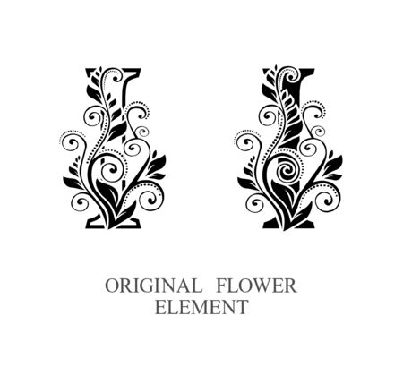 Elegant initial letters I in two color variations with botanical element. Vector letters logo design template set. Alphabet label sign for company branding and identity.Unique concept type as logotype Foto de archivo - 129729843