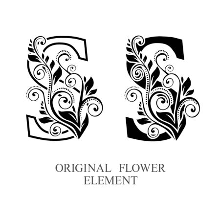Elegant initial letters S in two color variations with botanical element. Vector letters logo design template set. Alphabet label sign for company branding and identity.Unique concept type as logotype Foto de archivo - 129729853