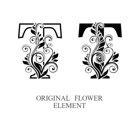 Elegant initial letters T in two color variations with botanical element. Vector letters logo design template set. Alphabet label sign for company branding and identity.Unique concept type as logotype Foto de archivo - 129729854
