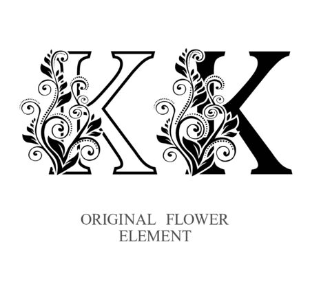 Elegant initial letters K in two color variations with botanical element. Vector letters logo design template set. Alphabet label sign for company branding and identity.Unique concept type as logotype Foto de archivo - 129729860