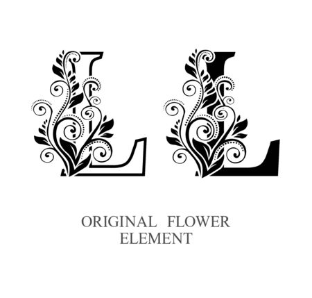 Elegant initial letters L in two color variations with botanical element. Vector letters logo design template set. Alphabet label sign for company branding and identity.Unique concept type as logotype Foto de archivo - 129729865