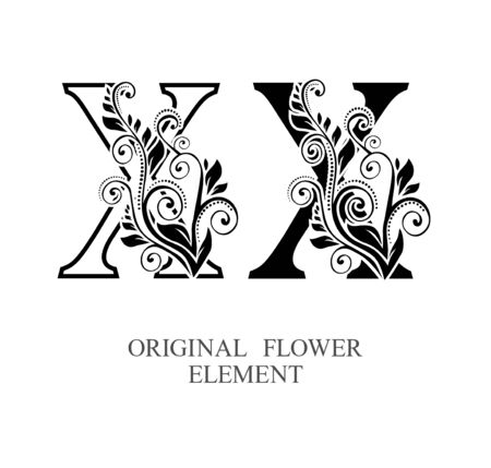 Elegant initial letters X in two color variations with botanical element. Vector letters logo design template set. Alphabet label sign for company branding and identity.Unique concept type as logotype Foto de archivo - 129729870