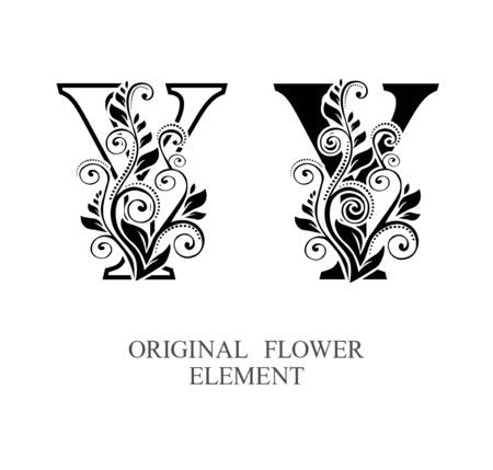 Elegant initial letters Y in two color variations with botanical element. Vector letters logo design template set. Alphabet label sign for company branding and identity.Unique concept type as logotype Foto de archivo - 129729874