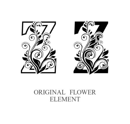 Elegant initial letters Z in two color variations with botanical element. Vector letters logo design template set. Alphabet label sign for company branding and identity.Unique concept type as logotype Foto de archivo - 129729945