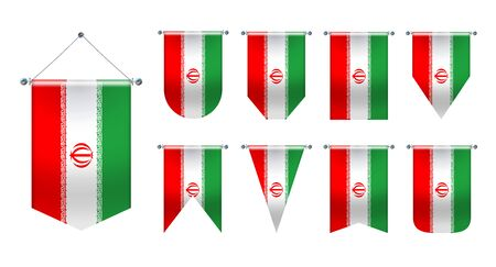 3D Realistic Pennants Hanging Flags of the Iran. Vertical Template design set national flags of country for travel, sport, advertising, signboard, website, award, achievement, festival, carnaval.