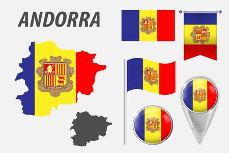 ANDORRA. Set of national infographics elements with various flags, detailed maps, pointer, button and different shapes badges. Patriotic 3d symbols for Sport, Patriotic, Travel, Design, Template.