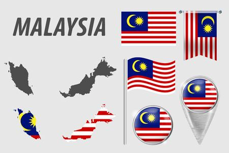 MALAYSIA. Set of national infographics elements with various flags, detailed maps, pointer, button and different shapes badges. Patriotic 3d symbols for Sport, Patriotic, Travel, Design, Template.