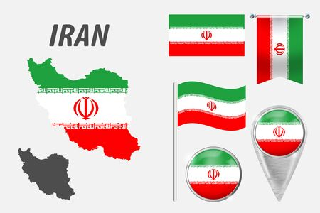 IRAN. Set of national infographics elements with various flags, detailed maps, pointer, button and different shapes badges. Patriotic 3d symbols for Sport, Patriotic, Travel, Design, Template. Illustration