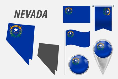 NEVADA. Set of national infographics elements with various flags, detailed maps, pointer, button and different shapes badges. Patriotic 3d symbols for Sport, Patriotic, Travel, Design, Template.