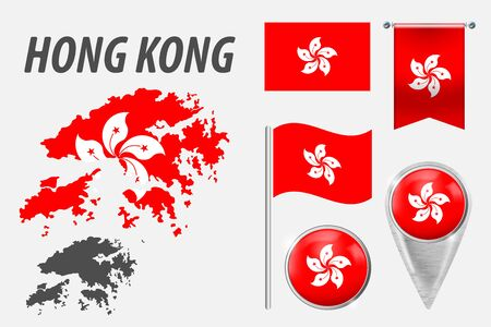 HONG KONG. Set of national infographics elements with various flags, detailed maps, pointer, button and different shapes badges. Patriotic 3d symbols for Sport, Patriotic, Travel, Design, Template.
