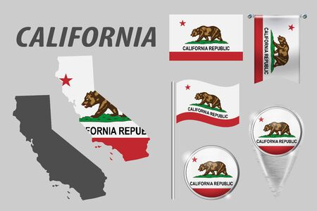 CALIFORNIA. Set of national infographics elements with various flags, detailed maps, pointer, button and different shapes badges. Patriotic 3d symbols for Sport, Patriotic, Travel, Design, Template.