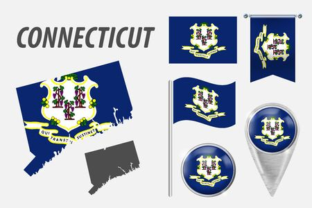 CONNECTICUT. Set of national infographics elements with various flags, detailed maps, pointer, button and different shapes badges. Patriotic 3d symbols for Sport, Patriotic, Travel, Design, Template. Illustration