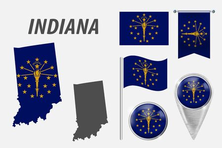 INDIANA. Set of national infographics elements with various flags, detailed maps, pointer, button and different shapes badges. Patriotic 3d symbols for Sport, Patriotic, Travel, Design, Template. Stock Illustratie