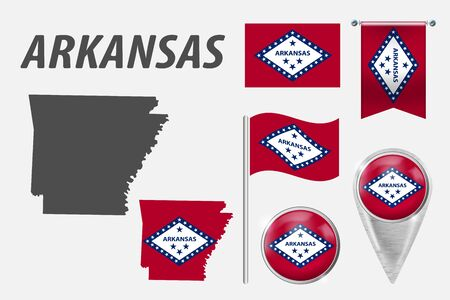 ARKANSAS. Set of national infographics elements with various flags, detailed maps, pointer, button and different shapes badges. Patriotic 3d symbols for Sport, Patriotic, Travel, Design, Template. Stock Illustratie