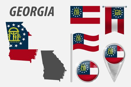 GEORGIA. Set of national infographics elements with various flags, detailed maps, pointer, button and different shapes badges. Patriotic 3d symbols for Sport, Patriotic, Travel, Design, Template. Ilustracja