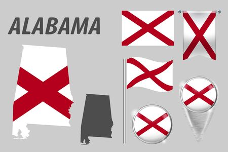 ALABAMA. Set of national infographics elements with various flags, detailed maps, pointer, button and different shapes badges. Patriotic 3d symbols for Sport, Patriotic, Travel, Design, Template.