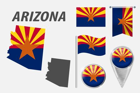 ARIZONA. Set of national infographics elements with various flags, detailed maps, pointer, button and different shapes badges. Patriotic 3d symbols for Sport, Patriotic, Travel, Design, Template.