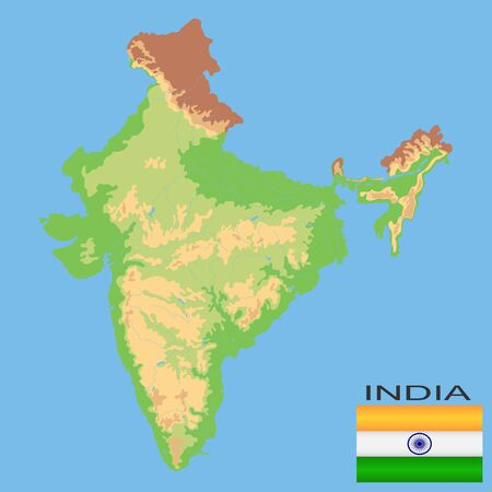 India. Detailed physical map of India colored according to elevation, with rivers, lakes, mountains. Vector map with national flag.