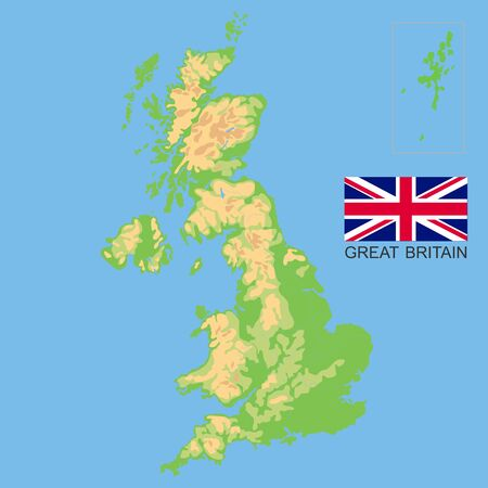 United Kingdom. Detailed physical map of the Great Britain colored according to elevation, with rivers, lakes, mountains. Vector map with national flag Çizim