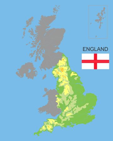 England is part of the UK. Bordered by northern ireland, Wales and Scotland. Detailed physical map of country colored according to elevation, with rivers, lakes, mountains.Vector illustration.