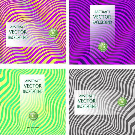 Collection backgrounds abstract wavy lines, waves. Coloroful vector illustration
