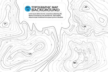 Topographic map background with text. Contour topography map, geographic grid. Abstract vector illustration Illusztráció