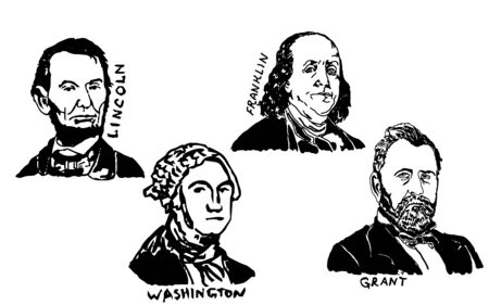 American presidents hand drawing. Happy Presidents Day. Vector illustration. Vector sketch 일러스트