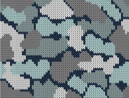 Military decorative khaki camouflage. Woolen knitted pattern. Greeting card, Vector illustration