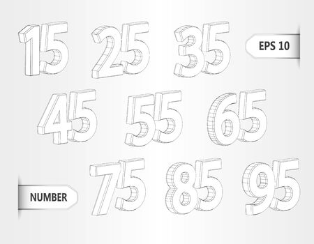 Collection of discount 3d numbers isolated on white background. Three dimensional mesh stylish numbers. Graphical decorative shapes.Discount price off and sales design template. vector illustration