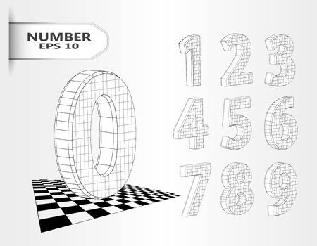 Realistic three dimensional set of numbers. Hand drawn Isometric numbers vector set. 3d black and white geometric numbers for design, advertising and web design. EPS 10 vector illustration