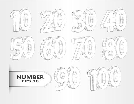 Realistic three dimensional set of numbers. Isometric numbers vector set. Mathematics symbols, stylish simple shaped numerals for design, advertising, web, Sale, Special Offer Label, Sticker, Banner