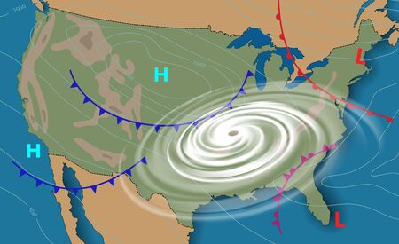 Weather map of the United States of America. Meteorological forecast . Editable vector illustration of a generic weather map showing with tornado, isobars and weather fronts