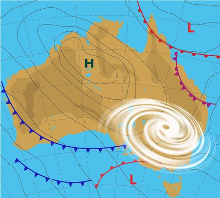 Weather map of the Australia. Meteorological forecast with Hurricane, Wind cyclone, Storm. Editable vector illustration of a generic weather map showing with tornado, isobars and weather fronts.