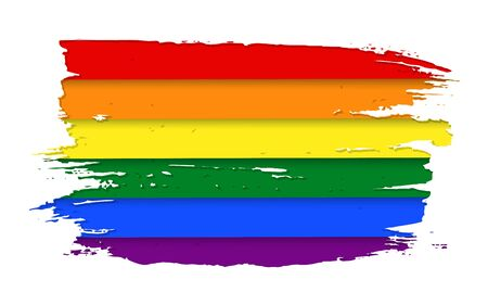 The official watercolor rainbow spectrum flag or emblemof Gay Pride Movement with shadow. The pride flag representing LGBT rights concept. Modern parades poster, placard, invitation card design.