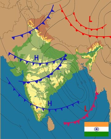 Weather map of the India. Meteorological forecast on physical map background. Editable vector illustration of a generic weather map showing isobars and weather fronts. EPS 10.