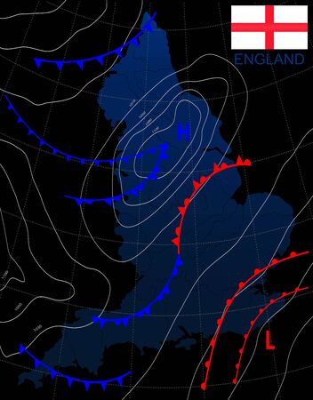 England. Weather map of the ENGLAND. Meteorological forecast on a dark background. Editable vector illustration of a generic weather map showing isobars and weather fronts.