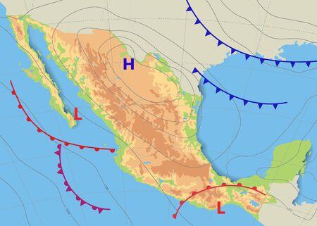 Carte physique et topographique du Mexique. Carte météorologique réaliste du pays montrant les isobares et les fronts météorologiques. Prévision météorologique. Illustration vectorielle. EPS 10.