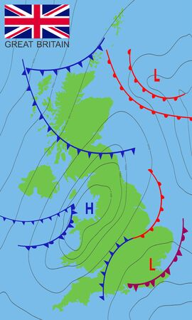 United Kingdom. Weather map of the Great Britain with nation flag. Meteorological forecast. Editable vector illustration of a generic weather map showing isobars and weather fronts. EPS 10.