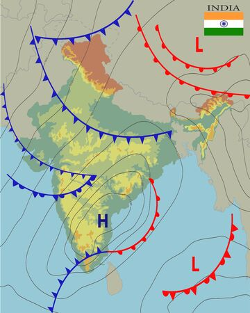 India. Realistic synoptic map of the India showing isobars and weather fronts. Meteorological forecast. Topography and physical map of country with national flag. Vector illustration. EPS 10.