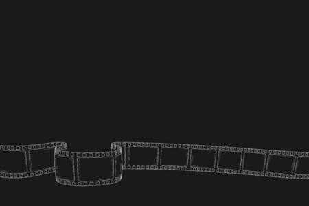 Hand drawn cinema film strip for camera or projector isolated white background. Sketch empty frame film strip for text, festival, poster, flyer, banner. Retro photo film. Vector vintage doodle style Illustration