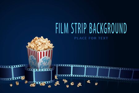 Real film strip frame in wave form with popcorn box isolated on blue background. Cinema template with space for your text. 3D design flyer or poster festival. Movie time and cinematography concept