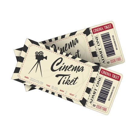Two cinema tickets isolated on white background. Retro pair movie entrance ticket. Realistic template set for Cinema, Theatre, Concert, Party, Event or Festival. Vector illustration close up. Illustration