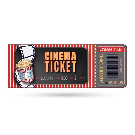 Cinema ticket close up isolated on white background. Retro movie entrance ticket. Realistic admission pass mockup or performance coupon. Template ticket for Cinema, Theatre, Concert, Party, Event or Festival. Illustration
