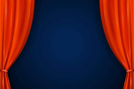 Realistic open red curtains. Empty stage with Luxury scarlet red curtains and empty auditorium. Velvet layered interior decoration design for cinema or theater, fabric background for film or opera  イラスト・ベクター素材