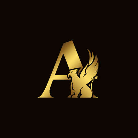 Griffin silhouette inside gold letter A. Heraldic symbol beast ancient mythology or fantasy. Creative design elements for logotype, emblem, monogram, icon or symbol for company, corporate, brand name Logo