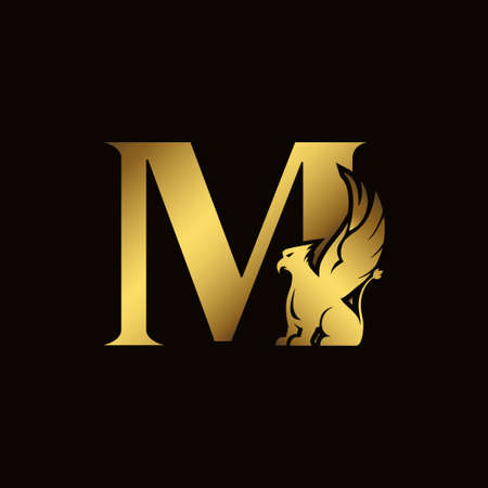 Griffin silhouette inside gold letter M. Heraldic symbol beast ancient mythology or fantasy. Creative design elements for logotype, emblem, monogram, icon or symbol for company, corporate, brand name Logo