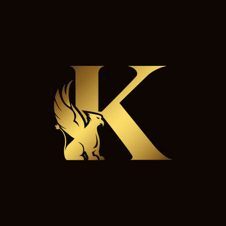 Griffin silhouette inside gold letter K. Heraldic symbol beast ancient mythology or fantasy. Creative design elements for logotype, emblem, monogram, icon or symbol for company, corporate, brand name 矢量图像