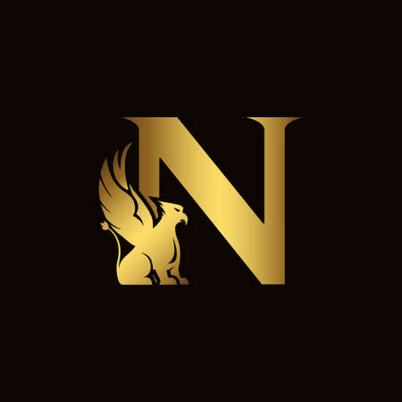 Griffin silhouette inside gold letter N. Heraldic symbol beast ancient mythology or fantasy. Creative design elements for logotype, emblem, monogram, icon or symbol for company, corporate, brand name