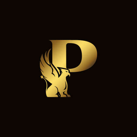 Griffin silhouette inside gold letter P. Heraldic symbol beast ancient mythology or fantasy. Creative design elements for logotype, emblem, monogram, icon or symbol for company, corporate, brand name Stock Illustratie